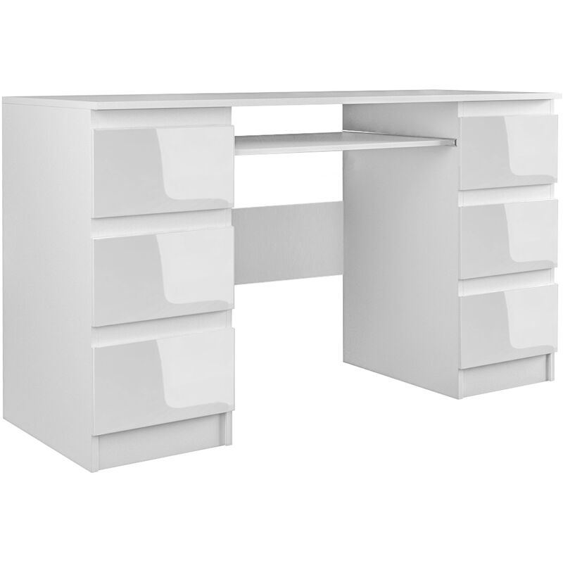 bari bureau informatique bureau d ordinateur mobilier travail office 6 tiroirs support clavier coulissant meuble bureau blanc blanc