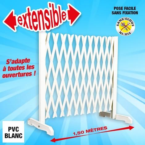 barriere extensible blanche en pvc longueur jusqu a 1 50m hauteur 90cm