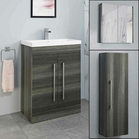 Basin Vanity Unit Mirror Cabinet Tall Cupboard Bathroom Bundle Charcoal Fnaurpckdw1
