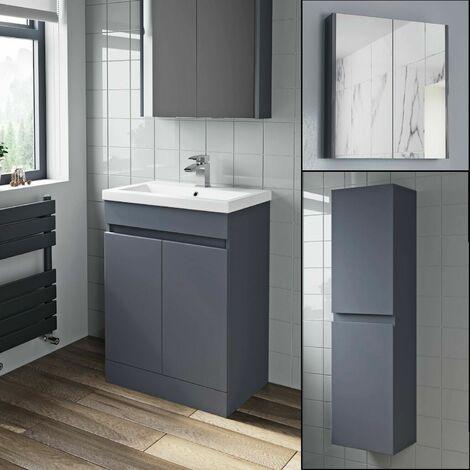 Basin Vanity Unit Mirror Cabinet Tall Cupboard Grey Gloss Bathroom Bundle Fnartpckgg1