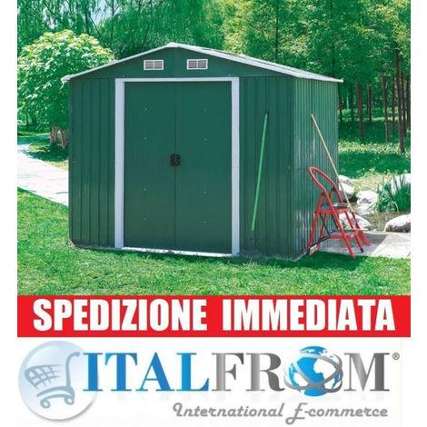 Box Casetta Casette Rimessa Ripostiglio Garage Auto Per Giardino Lamiera Zincata 301x300x208h