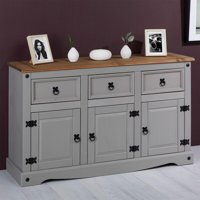 buffet ramon commode bahut vaisselier en pin massif gris et brun avec 3 tiroirs 3 portes meuble de rangement style mexicain en bois