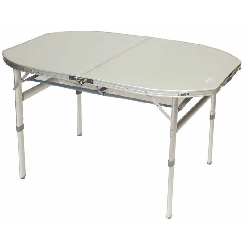 camp gear table de camping pliable ovale blanc aluminium