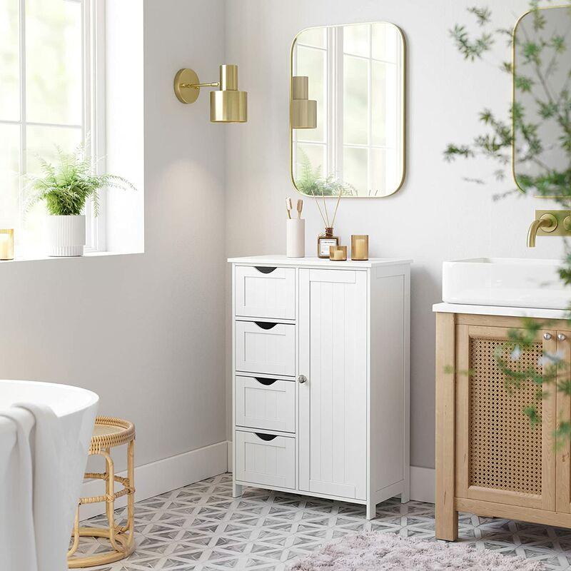 campagne meubles de rangement commode armoire blanche pour chambre salle de bain blanc 4 tiroirs 1 porte