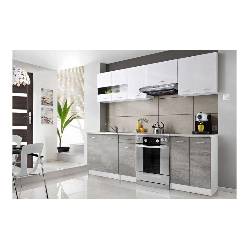 cedar cuisine complete lineaire l 2 4 m 7 pcs plan de travail inclus ensemble meubles armoires cuisine moderne scandinave blanc gris
