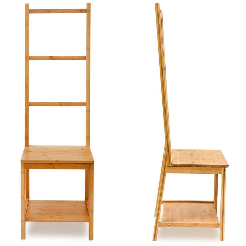 chaise porte serviettes porte vetements bambou etagere avec assise 3 barres hxlxp 133 x 40 x 42 cm salle de bain chambre nature