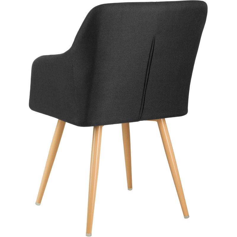 chaise de salle a manger et salon design scandinave en tissu noir