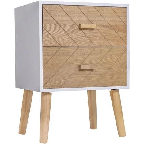 chevet table de nuit design scandinave 40l x 30l x 56h cm 2 tiroirs bois massif pin mdf blanc et hetre motif graphique