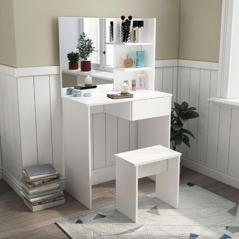 coiffeuse avec tabouret ensemble de table de maquillage bois miroir 3 etageres tiroir blanc mondeer