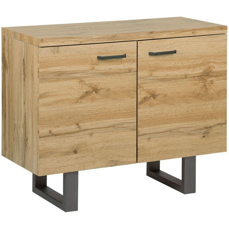 commode 2 portes en bois clair timber