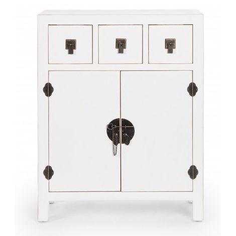 commode avec 3 tiroirs et 2 portes coloris blanc dim l 63 x p 26 x h 82 cm