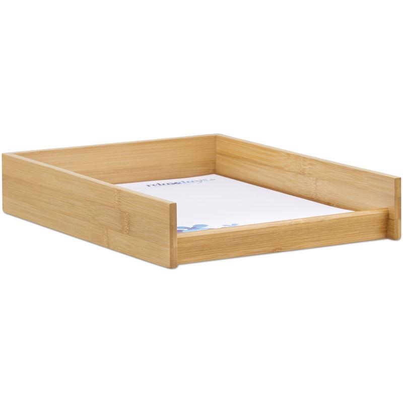 corbeille a courrier bois papier format a4 bureau range documents lettres aspect bambou 25x33cm nature
