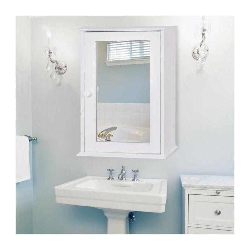 L Blanc Miroir De Salle De Bain Avec Etageres Fixation Murale 60 Cm Cuisine Maison Decoration De La Maison