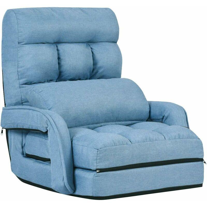 costway fauteuil convertible chauffeuse convertible 1 place en tissu gris avec oreiller 5 positions disponibles bleu