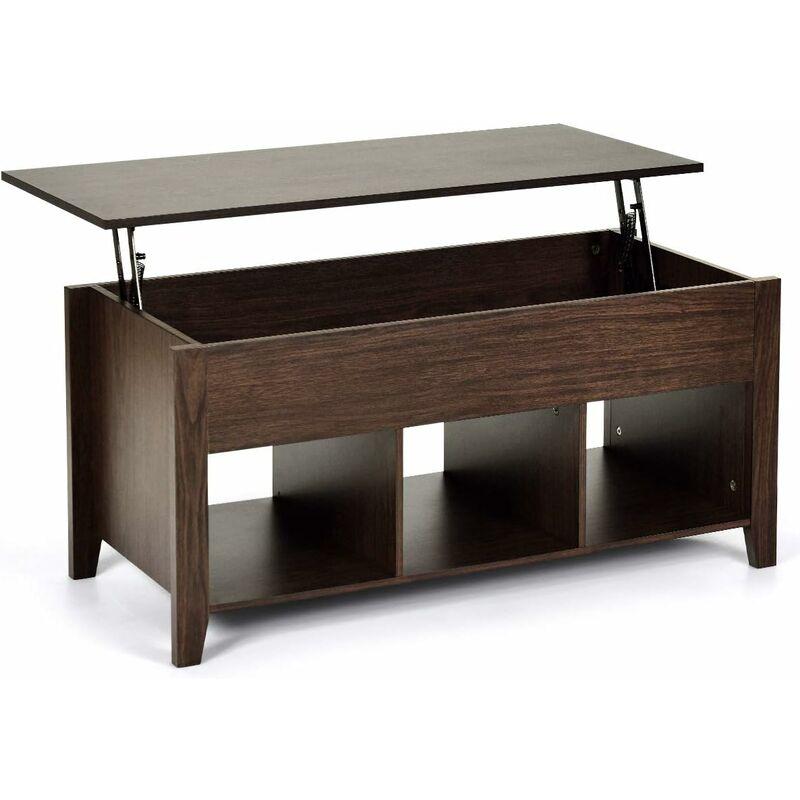 costway table basse avec plateau relevable marron table de salon carre avec trois compartiments pour rangement design contemporain