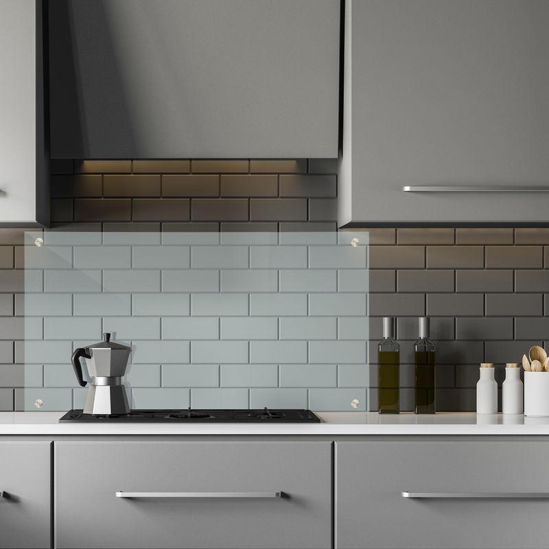 credence de cuisine verre contre eclaboussures fond de hotte 90 x 50 cm montage mural transparent
