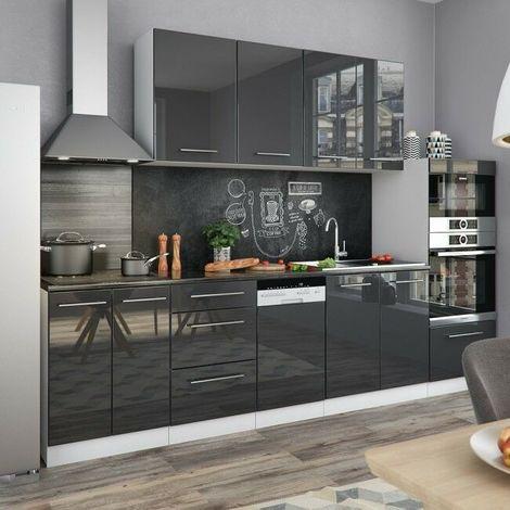 Cucina moderna componibile pensili 8 pezzi lunghezza 295 cm ante lucide colore principale