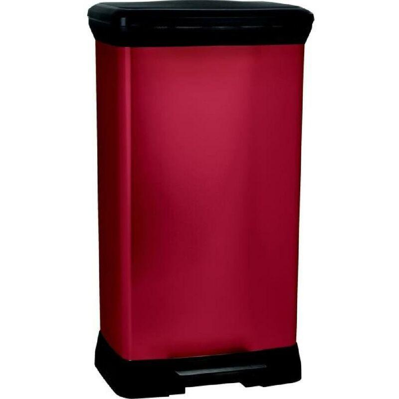curver poubelle a pedale 50 l rouge
