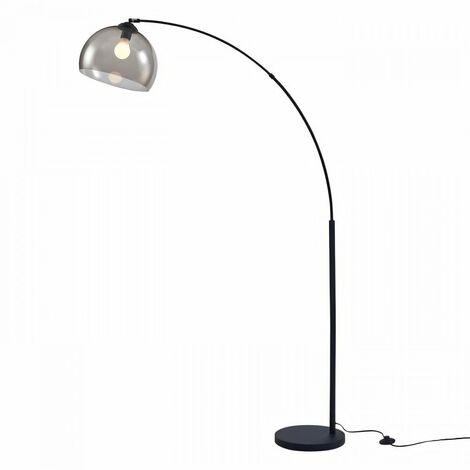 daisy lampadaire arc metal noir reflecteur acrylique fume l 30 x p 110 x h 170
