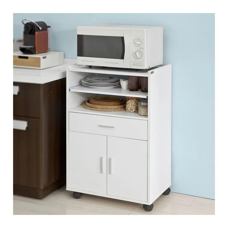 desserte micro onde a roulettes meuble de rangement cuisine sobuy fsb09 w