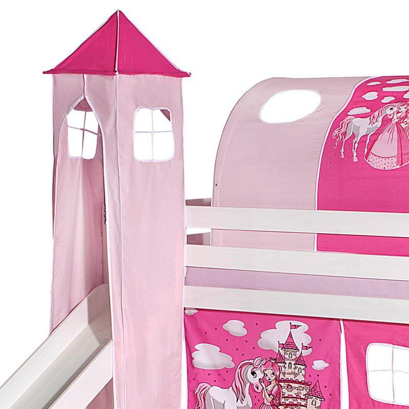 donjon tour pour lit sureleve superpose mi hauteur mezzanine avec toboggan tissu coton motif princesse rose