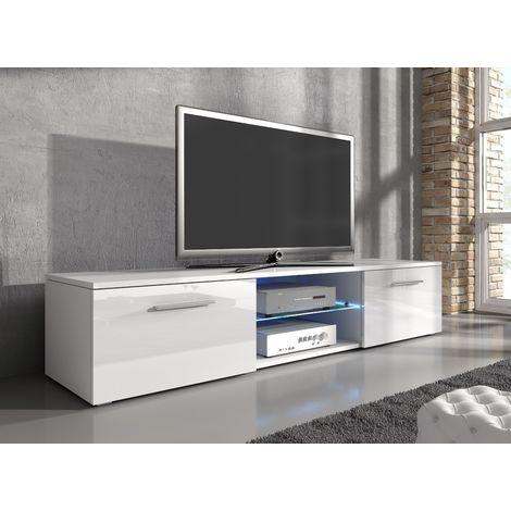 e com meuble tv samuel 160 cm corps blanc mat facade blanc brillante destockage soldes