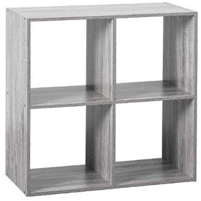 etagere 4 cases en panneaux de particules chene gris dim l 67 6 x p 32 x h 67 6 cm