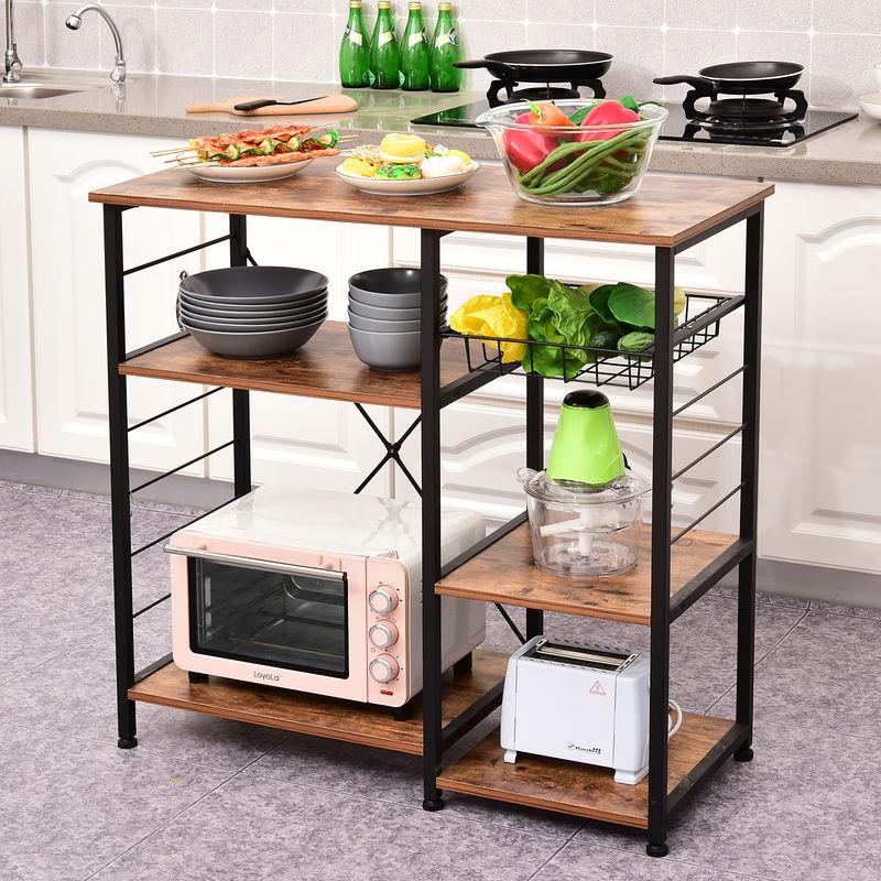 etagere de cuisine etagere de micro ondes style industriel multi rangements dim 90l x 40l x 88h cm pieds ajustable metal mdf noir bois