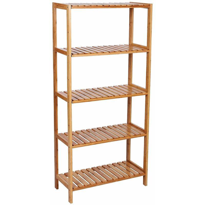 etagere en bambou rangement salle de bain etagere a chaussures etagere a livres etagere pour fleurs 5 niveaux 130 x 60 x 26cm bcb35y