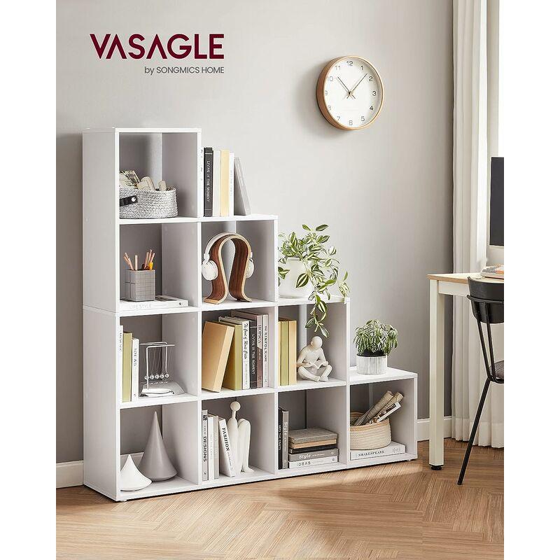 etagere escalier meuble de rangement 10 compartiments pour bibliotheque salon chambre blanc