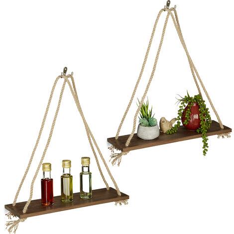 etagere flottante bois set de 2 tablette suspendue cordes maritime vintage plante 49 x 43 x 13 cm brun