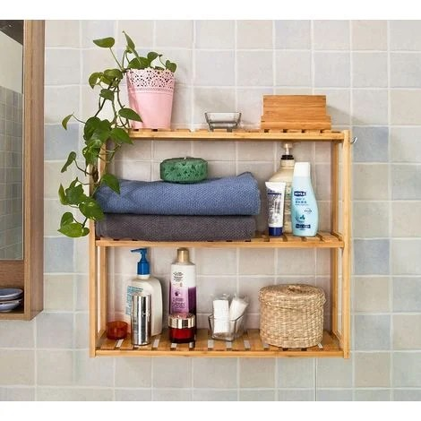 Etagre murale salle de bain toilettes en bambou Meuble de Rangement Cuisine 3 niveaux avec 2
