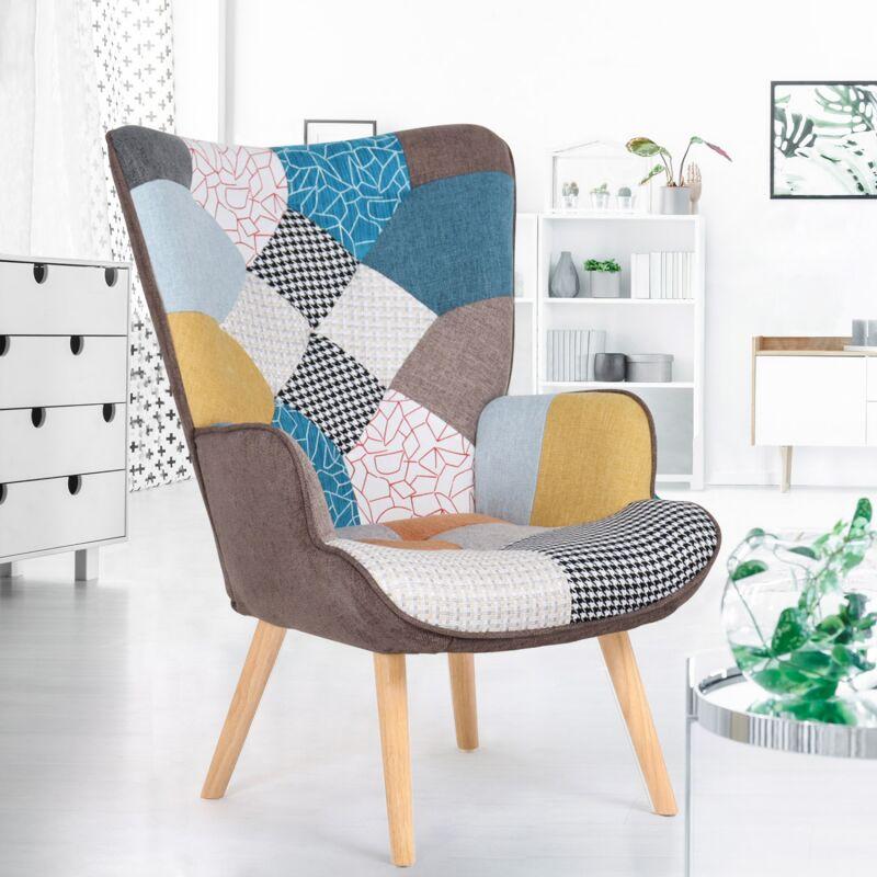 fauteuil scandinave ivar en tissu patchwork multicouleurs