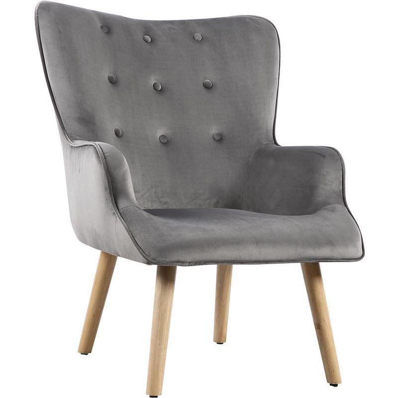 fauteuil style scandinave velours odense 73 x 81 x 92 5 cm 1 place gris