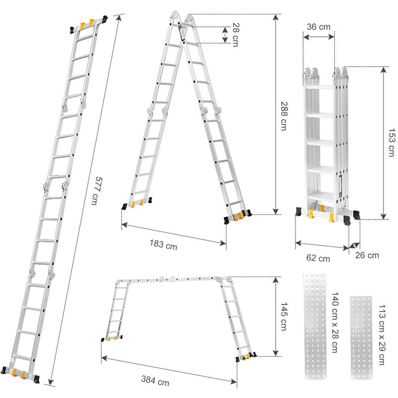 Finether Multi-Purpose Ladder: 19 FT/5.7 M Extendable