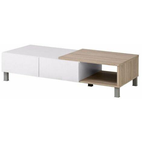 finlandek table basse tooting contemporain blanc mat et decor chene sonoma structure 3d l 131 30 x l 61 70 cm