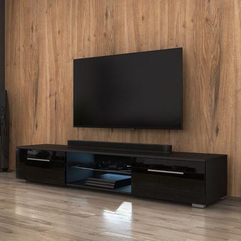selsey syvis meuble tv banc tv noir mat noir brillant 140 cm eclairage led