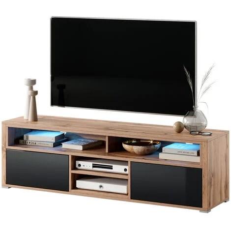 selsey mario meuble tv banc tv chene wotan noir brillant 137 cm avec led