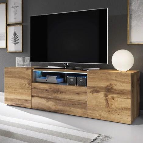 selsey bros meuble tv banc tv chene wotan 137 cm avec led