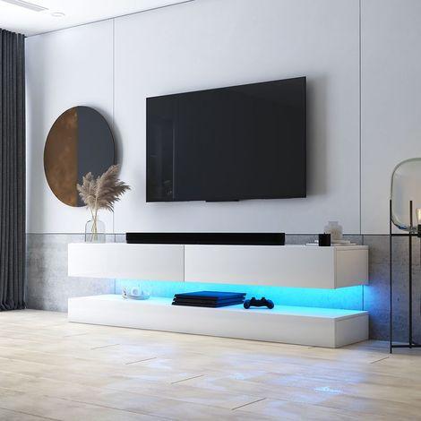 selsey hylia meuble tv suspendu meuble de salon mural blanc mat blanc brillant 140 cm avec led