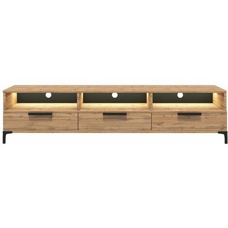 selsey rikke meuble tv banc tv chene wotan 160 cm avec led