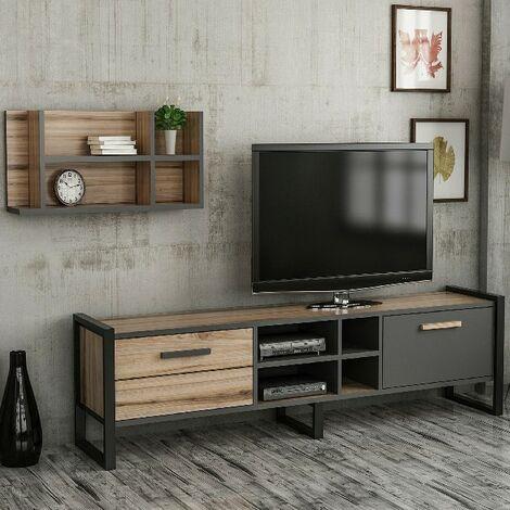 meuble tv leno moderne avec portes etageres pour salon noyer anthracite en bois metal 184 x 39 x 45 cm