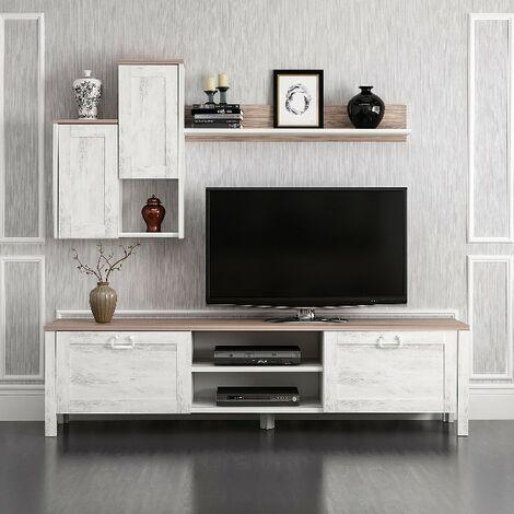 meuble tv sento avec portes etageres pour salon blanc noyer en bois 160 x 35 x 42 cm