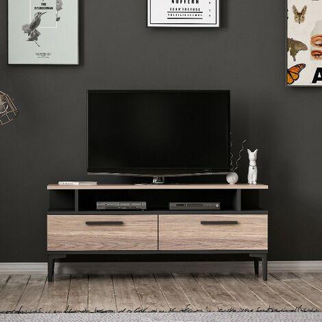 meuble tv sery moderne avec portes etageres pour salon noir en bois 120 x 35 x 52 cm