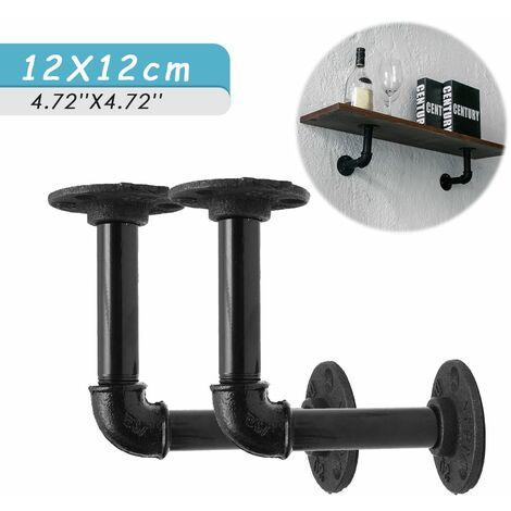 2 pieces 12x12cm supports d etagere de tuyau support d etagere industrielle pour etagere de livre etageres flottantes plomberie etagere de tuyau pour