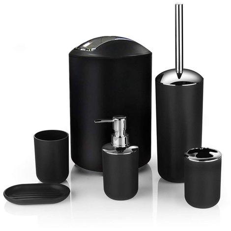 2021 nouveau 6pcs salle de bains accessoire set poubelle porte savon distributeur gobelet porte brosse a dents noir