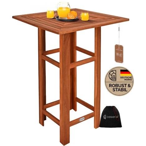 table de bar carree jardin terrasse en bois d acacia table haute 75x75x110cm evenements fetes