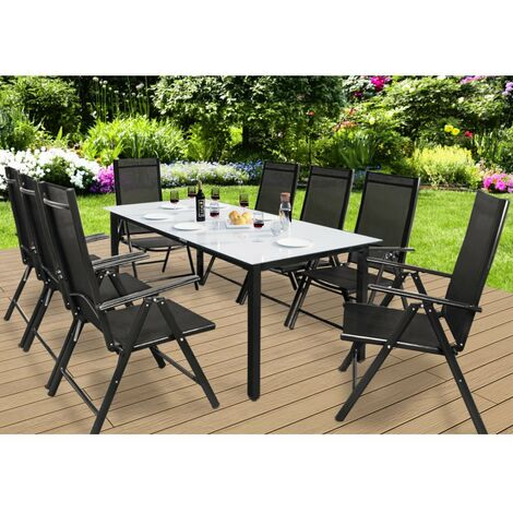 casaria salon de jardin aluminium bern 1 table 8 chaises pliantes differentes couleurs plateau de table en verre depoli dossier reglable 7 positions
