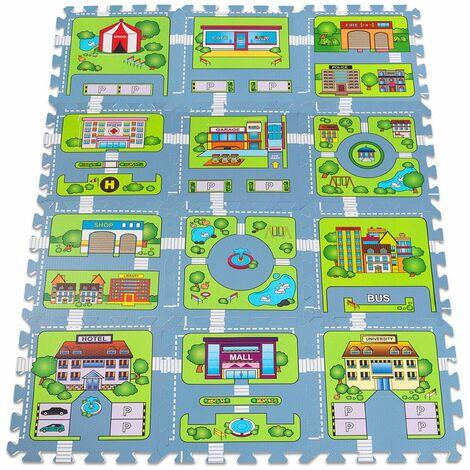 tapis puzzle sol jeu circuit voiture modele petite ville 121x91cm 20 pieces jeu enfant mousse eva surface de jeux tapis