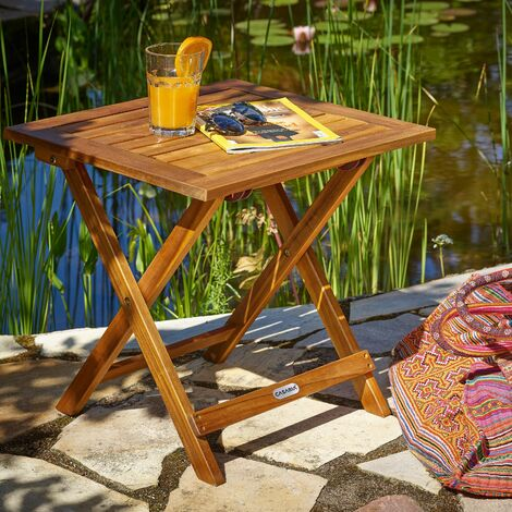 deuba table basse pliante en bois d acacia tables jardin d appoint 46x46cm pliable jardin terrasse interieur exterieur